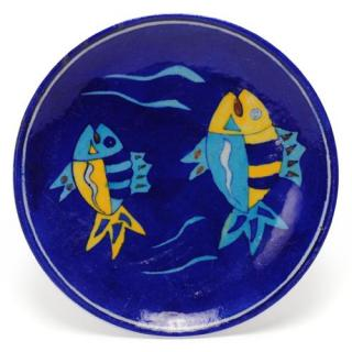 Two Fish on Blue Base Plate 8""