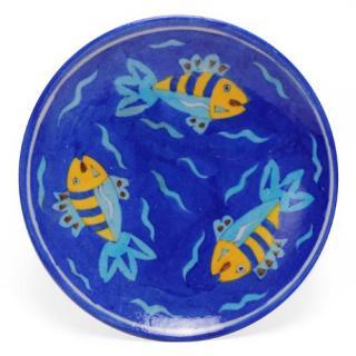 "Three Fish on Blue Base Plate 8"""