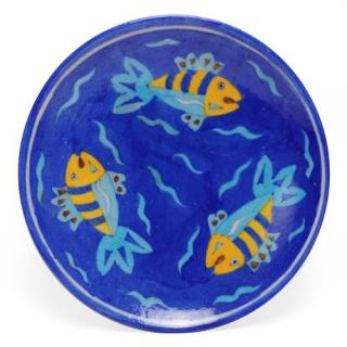 Three Fish on Blue Base Plate 8""