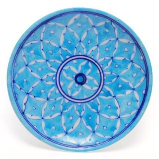 White Leaves on Turquoise Base Plate 8""