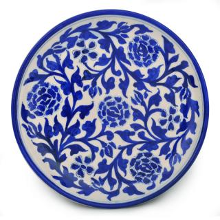 Blue Desing on White Base Plate