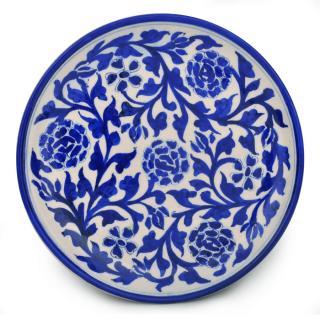 Blue Desing on White Base Plate