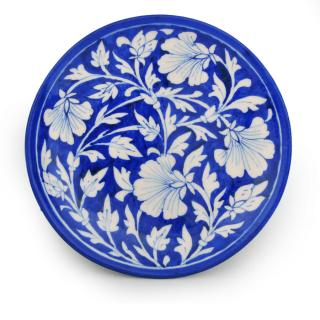 White Desing Flower with Blue Base Plate
