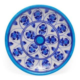 Blue Flowers and Leaves on White Base Plate 6''