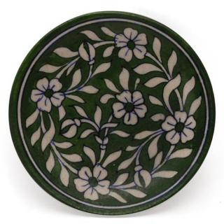 White Leaves and Flowers on Green Base Plate 6""