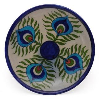Peacock Feather design Plate 6""