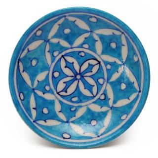 White Leaves on Turquoise Base Plate 5""