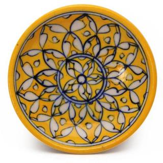 White Leaves on Yellow Base Plate 5""