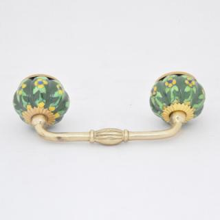 P-KNM-005-Yellow Flower and Lime Green Leaf with Green Base Cabinet Pull
