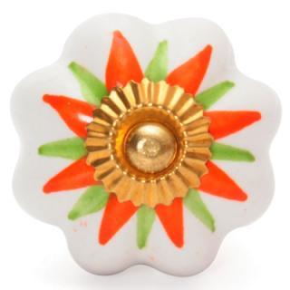 BPCK-007 - White Ceramic Knob with an Orange and Green Flower