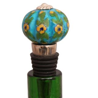 Yellow Flowers and Turquoise Base Wine Bottle Stopper
