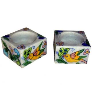 Blue Pottery Candle Holder Set - Pink, Yellow, Green, Blue and Turquoise Bird an