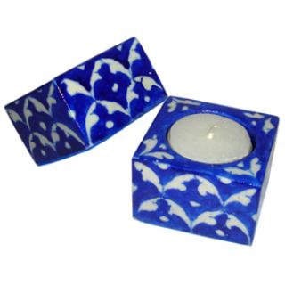 Blue Pottery Candle Holder Set - Blue and White Design