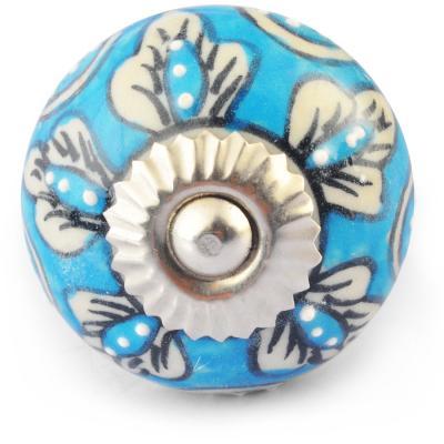 White Flowers On Turquoise And White Ceramic Knob Knobco